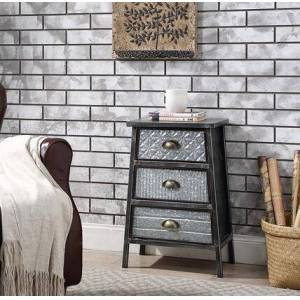 """4D Concepts Armata Collection 128017 16"""" Chest with 3 Easy Pull Out Drawers  Metal Hardware  Industrial Style and Galvanized Metal Construction in Grey"""