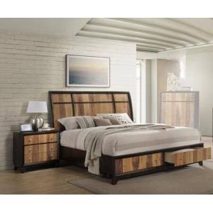 Myco Furniture Ava Collection AV6120QN 2-Piece Bedroom Set with Storage Platform Queen Bed and Nightstand in Espresso and Natural Walnut
