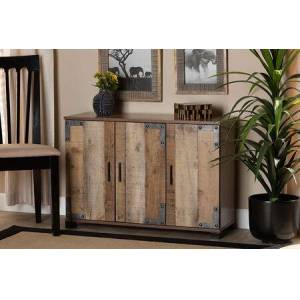 Wholesale Interiors ID-SC002-YOSEMILE OAK-SHOE RACK Cyrille Modern and Contemporary Farmhouse Rustic Finished Wood 3-Door Shoe