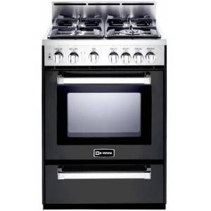 "Verona VEFSGG244NE 24"" Freestanding Gas Range with 4 Sealed Burners  2.5 cu. ft. Capacity  Broiler Pan  Storage Drawer  and Electronic Ignition  in Matte"
