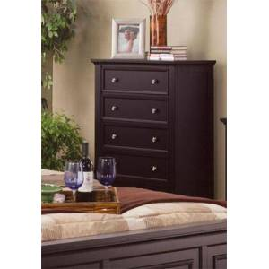 """Coaster Sandy Beach 201995 36.25"""" Chest with 5 Drawers  Felt Lined Top Drawer  Tapered Turned Legs  Tropical Hardwoods and Veneers Construction in Cappuccino"""