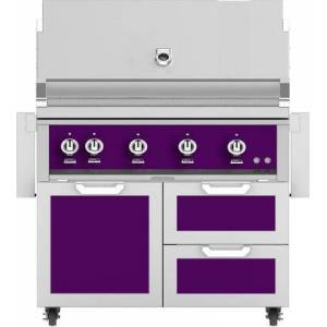 "Hestan 42"" Freestanding Liquid Propane Grill with GCR42PP Tower Grill Cart with Double Drawer and Door Combo  in Lush"