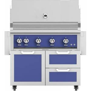 """Hestan 42"""" Freestanding Natural Gas Grill with GCR42BU Tower Grill Cart with Double Drawer and Door Combo  in Prince"""