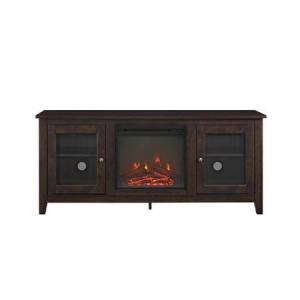 """Walker Edison W58FP4DWTB 58"""" Wood Media TV Stand Console with Fireplace in"""