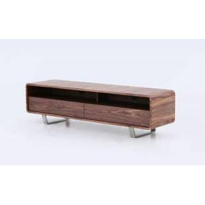 """J and M Furniture Greenwich 18549 59"""" x 16"""" TV Base with Walnut Veneer  2 Shelves and 2 Drawers in"""