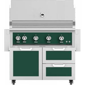 """Hestan 42"""" Freestanding Liquid Propane Grill with GCR42GR Tower Grill Cart with Double Drawer and Door Combo  in Grove"""