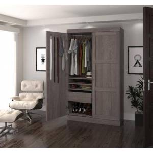 """Bestar Furniture Pur by Bestar 26861-47 84""""H Pullout Armoire with Adjustable Shelves  Adjustable Drawers with Ball bearing Slides and Metal Shoe Rack in Bark"""