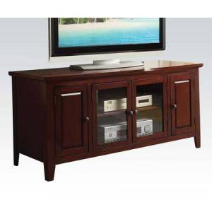 """Acme Furniture Christella 10340 55"""" TV Stand with 2 Storage Cabinets  2 Interior Shelves  2 Glass Doors  Metal Hardware  Hardwood and Veneers Material in Cherry"""