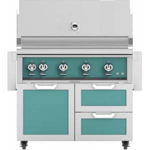 """Hestan 42"""" Freestanding Natural Gas Grill with GCR42TQ Tower Grill Cart with Double Drawer and Door Combo  in Bora Bora"""