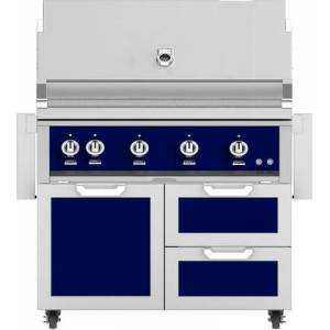 """Hestan 42"""" Freestanding Natural Gas Grill with GCR42PP Tower Grill Cart with Double Drawer and Door Combo  in Lush"""