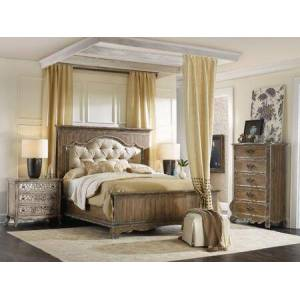 Hooker Furniture Chatelet Collection 5300-90850-2NSCD 4-Piece Bedroom Set with Queen Sized Bed  2 Nightstands and Chest of Drawers in Light Wood