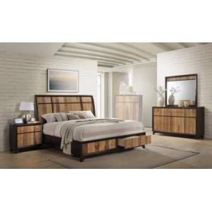 Myco Furniture Ava Collection AV6120QNMDR 4-Piece Bedroom Set with Storage Platform Queen Bed  Nightstand  Mirror and Dresser in Espresso and Natural Walnut