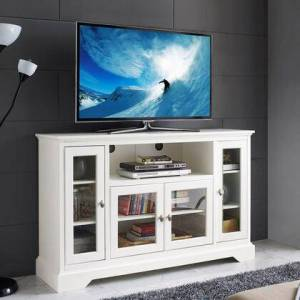 Walker Edison W52C32WH 52 Highboy Style Wood TV Stand -