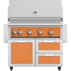 """Hestan 42"""" Freestanding Liquid Propane Grill with GCR42OR Tower Grill Cart with Double Drawer and Door Combo  in Citra"""