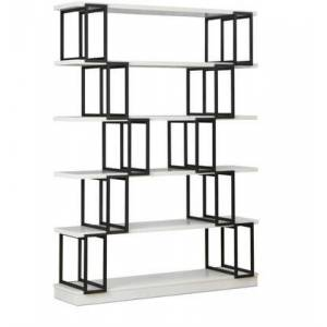 """Acme Furniture Verne Collection 47"""" Bookshelf with 6 Fixed Wooden Shelves  Contemporary Style  Geometric Metal Frame Design and Engineered Wood Materials in White"""