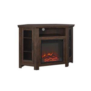 "Walker Edison W48FPCRTB 48"" Wood Corner Fireplace Media TV Stand Console in"