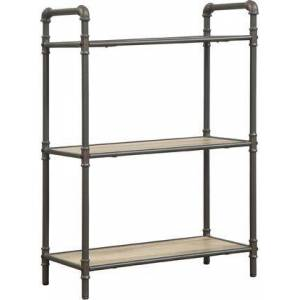 "Acme Furniture Itzel Collection 97162 26"" Bookshelf with 3 Fixed Shelves  Wooden Shelf Material and Metal Frame Construction in Antique Oak and Sandy Grey"