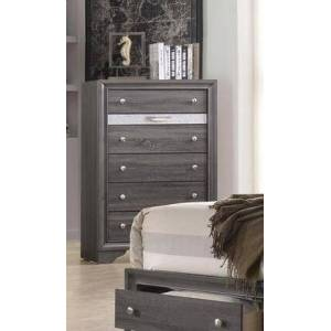 Myco Furniture Logan Collection LG402-CH Chest with 6 Drawers and Kenlin Center Glides in Gray