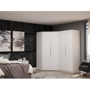 Manhattan Comfort Mulberry Collection 117GMC1 Wardrobe/ Armoire/ Closet with 4 Adjustable Shelves  2 Drawers  4 Doors  Contemporary Modern Style  Medium-Density
