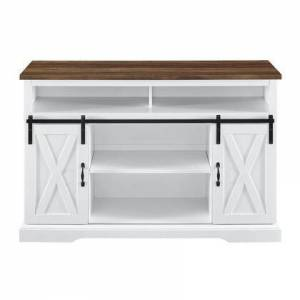 """Walker Edison W52HBSBDSW 52"""" Sliding Barn Door Highboy Console in Solid White and Reclaimed"""