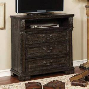"""Furniture of America Genevieve CM7428TV 38.625"""" Media Chest with 3 Drawers  1 Open Shelf and Antique Hardware in Distressed"""