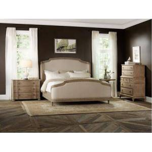 Hooker Furniture Corsica Collection 5180-90866-2CDAT 4-Piece Bedroom Set with King Bed  2 Chest of Drawers and Accent Tables in Light
