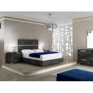 Casabianca Milo Collection TC9005KG4HSET 4 PC Bedroom Set with Grey Birch Lacquer King Size Platform Bed  Dresser and 2
