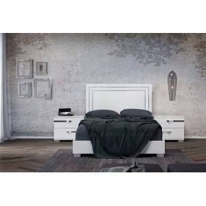Casabianca Wave Collection CBWV01K2N 3 PC Bedroom Set with King Size Bed and 2 Nightstands in White