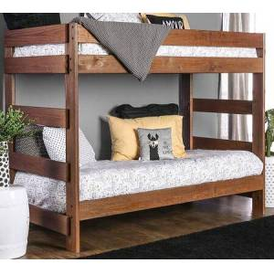 """Furniture of America Arlette AM-BK100-BED 41"""" Twin Over Twin Size Bunk Bed with Headboard and Footboard Ladders  Plank Style Construction and American Pine Construction"""