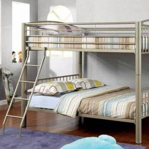 Benzara BM137679 Full Size Metal Bunk Bed With moveable ladder