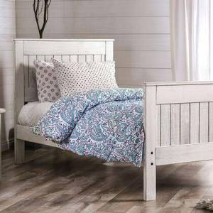 Furniture of America AM7973WH-Q-BED Rockwall Collection Queen Size Panel Bed with Headboard & Footboard Sets  American Pine Wood Construction  The Luscious Wood Tones  in
