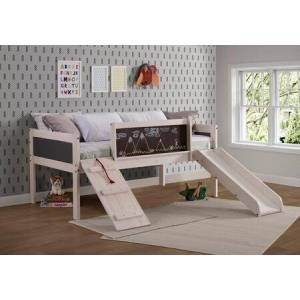 Donco 3005-TLWWDG Twin Art Play Junior Low Loft Bed White Wash Dark