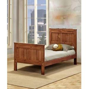 "Chelsea Home Furniture Mates Collection 314021 78"" Twin Size Bed with Tapered Legs  Rustic Style  Solid Pine in Mahogany"