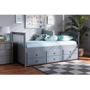 Wholesale Interiors Trine Collection MG8005-GREY-DAYBED Classic and Traditional Grey Finished Wood Twin Size Daybed with