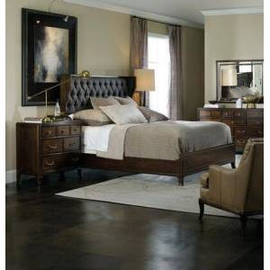 Hooker Furniture Palisade Collection 5183-90650-DRMRCD 4-Piece Bedroom Set with Queen Bed  Dresser  Mirror and Chest of Drawers in Dark