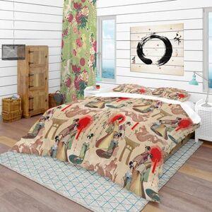 Design Art BED18738-K Designart 'Japanese Geishas & Dragons' Oriental Duvet Cover