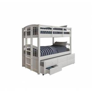 """HomeRoots 332368 80"""" x 42"""" x 70"""" White Twin Bunk Bed and Trundle with 3"""