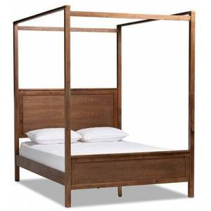 Wholesale Interiors Veronica Collection MG0021-1-WALNUT-KING King Size Canopy Bed with Inset Paneling  Internal Slats  Tall Wood Beams  Medium-Density Fiberboard (MDF)