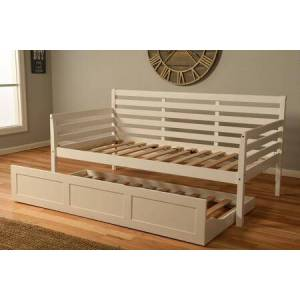 Kodiak Furniture Boho Collection DBTBWH2 Twin Size Daybed -Trundle Bed-White