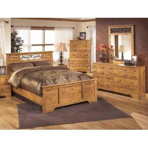 Ashley Bittersweet Queen Bedroom Set with Panel Bed  Dresser  Mirror and Chest in Light