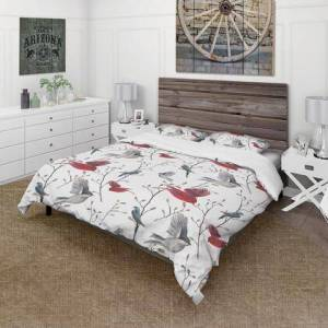 Design Art BED18938-K Designart 'Pattern With Birds' Farmhouse Duvet Cover