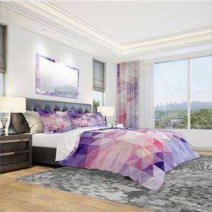 Design Art BED18664-Q Designart 'Square Composition With Geometric Shapes' Modern & Contemporary Duvet Cover