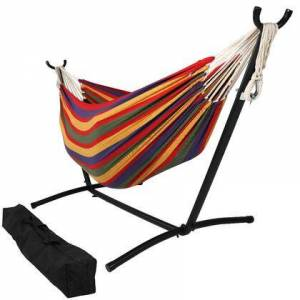 Sunnydaze Decor DB COMBO-TROPICAL Brazilian Double Hammock with Stand and Carrying Pouch 2 Person