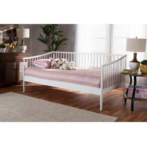 Wholesale Interiors RENATA-WHITE-DAYBED Renata Classic and Traditional White Finished Wood Twin Size Spindle