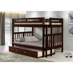 Donco 225-FFCP_503-CP Full/Full Mission Bunk Bed With Trundle Bed Dark in Cappuccino