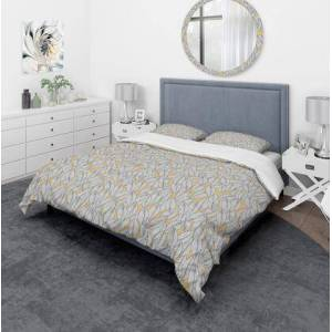 Design Art BED19020-Q Designart 'Abstract Monochromic Pattern With Contour Leaves' Modern & Contemporary Duvet Cover