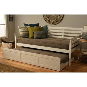Kodiak Furniture Boho Collection BODBTBWHTMLSTN4 Twin Size Daybed-Trundle Bed-White Finish-Linen Stone