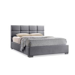 Wholesale Interiors Sophie Collection BBT6481-QUEEN-GREY Queen Size Platform Bed with Grid Stitching  Low Profile Footboard  Chrome Steel Legs  Contemporary Style  Solid
