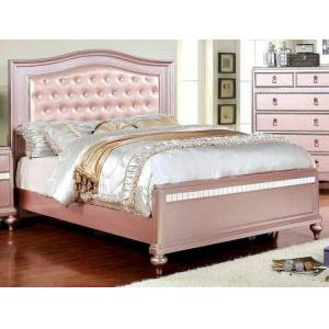 """Furniture of America Ariston CM7171RG-T-BED 43"""" Twin Size Bed with Padded Leatherette Headboard  Button Tufting and Mirror Trim on Footboard in Rose"""