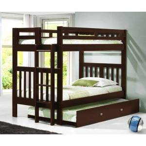Donco 215-TTCP_503-CP Twin/Twin Mission Bunk Bed With Trundle Bed Dark in Cappuccino